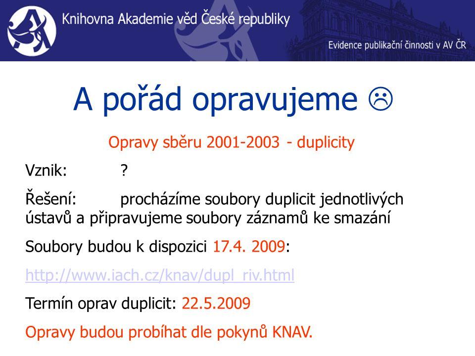 A pořád opravujeme  Opravy sběru 2001-2003 - duplicity Vznik: .