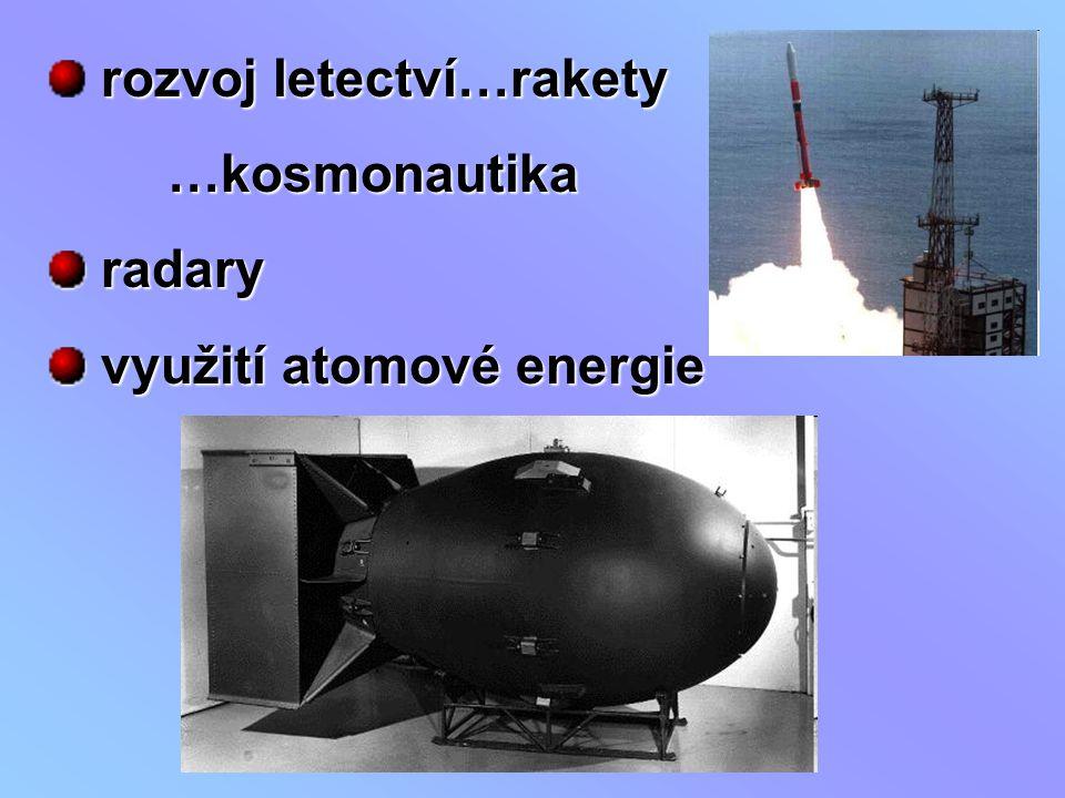 rozvoj letectví…rakety …kosmonautika …kosmonautika radary radary využití atomové energie využití atomové energie
