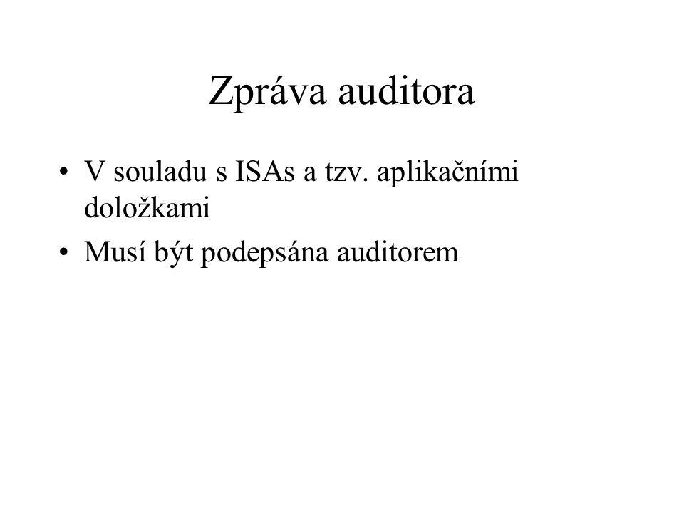 Zpráva auditora V souladu s ISAs a tzv. aplikačními doložkami Musí být podepsána auditorem