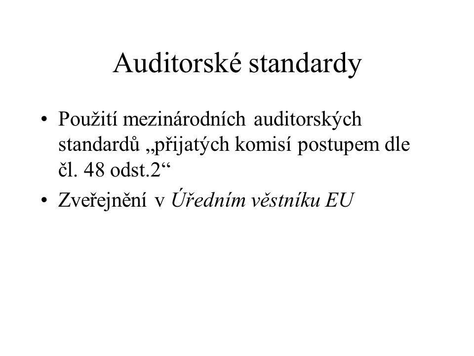 Audit konsolidovaných UZ Auditor skupiny nese plnou odpovědnost za zprávu auditora Auditor skupiny provádí přezkum (review) činnosti auditorů ze třetích zemí a o tomto přezkumu vede dokumentaci Dokumentace je přístupná pro potřeby kontroly práce skupinového auditora