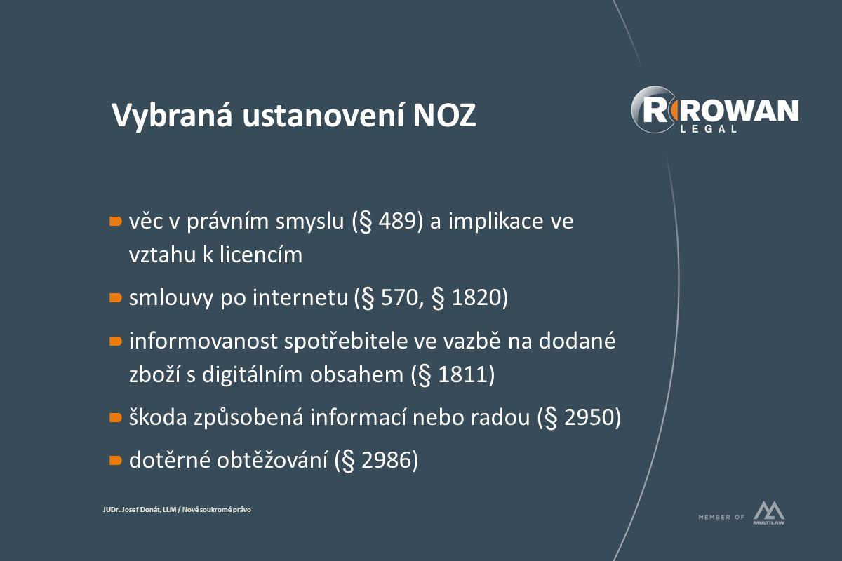 Vybraná ustanovení NOZ věc v právním smyslu (§ 489) a implikace ve vztahu k licencím smlouvy po internetu (§ 570, § 1820) informovanost spotřebitele ve vazbě na dodané zboží s digitálním obsahem (§ 1811) škoda způsobená informací nebo radou (§ 2950) dotěrné obtěžování (§ 2986) JUDr.