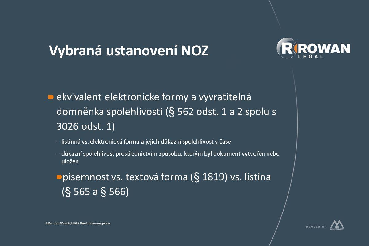 Vybraná ustanovení NOZ elektronický podpis (561 odst.