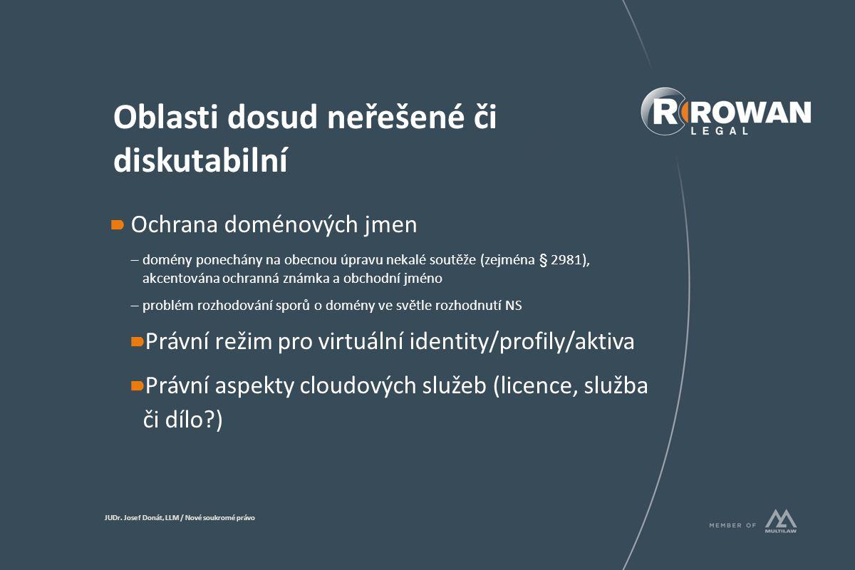 Oblasti dosud neřešené či diskutabilní Ochrana doménových jmen –domény ponechány na obecnou úpravu nekalé soutěže (zejména § 2981), akcentována ochranná známka a obchodní jméno –problém rozhodování sporů o domény ve světle rozhodnutí NS Právní režim pro virtuální identity/profily/aktiva Právní aspekty cloudových služeb (licence, služba či dílo ) JUDr.