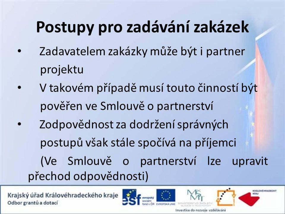 Postupy pro zadávání zakázek Zadavatelem zakázky může být i partner projektu V takovém případě musí touto činností být pověřen ve Smlouvě o partnerstv