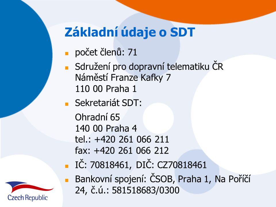Poslání SDT podpora implementace produktů a služeb dopravní telematiky aktivní partnerství pro státní správu a veřejnou samosprávu při tvorbě koncepcí a programů podpora vzdělávání a informování členů o dění v oblasti dopravní telematiky organizace seminářů a konferencí podpora standardizačního a legislativního procesu spolupráce s evropskými asociacemi