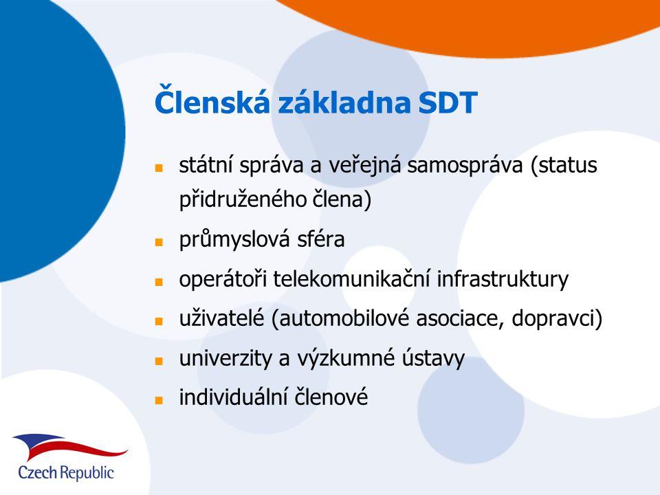Členská základna SDT státní správa a veřejná samospráva (status přidruženého člena) průmyslová sféra operátoři telekomunikační infrastruktury uživatelé (automobilové asociace, dopravci) univerzity a výzkumné ústavy individuální členové