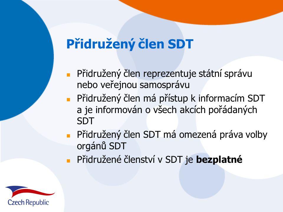 Přidružený člen SDT Přidružený člen reprezentuje státní správu nebo veřejnou samosprávu Přidružený člen má přístup k informacím SDT a je informován o všech akcích pořádaných SDT Přidružený člen SDT má omezená práva volby orgánů SDT Přidružené členství v SDT je bezplatné