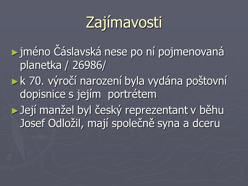 Zajímavosti ► jméno Čáslavská nese po ní pojmenovaná planetka / 26986/ ► k 70.