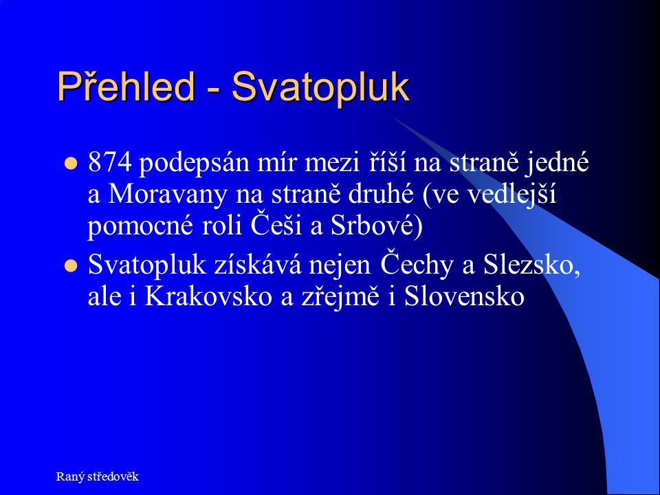 Raný středověk Přehled - Svatopluk 874 podepsán mír mezi říší na straně jedné a Moravany na straně druhé (ve vedlejší pomocné roli Češi a Srbové) Svat