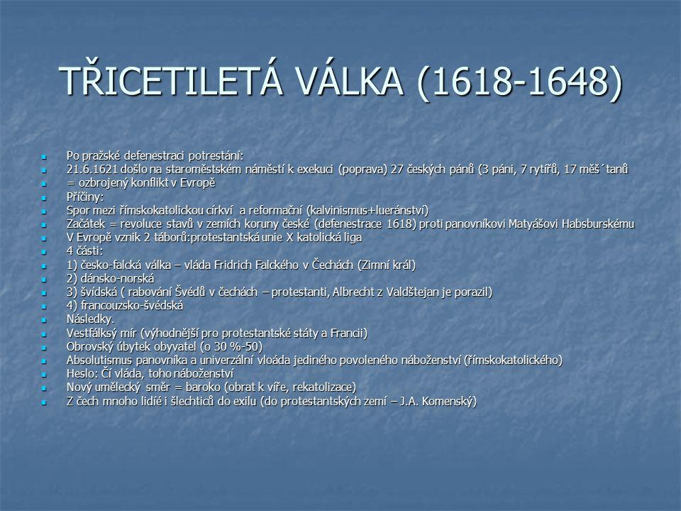 TŘICETILETÁ VÁLKA (1618-1648) Po pražské defenestraci potrestání: Po pražské defenestraci potrestání: 21.6.1621 došlo na staroměstském náměstí k exeku