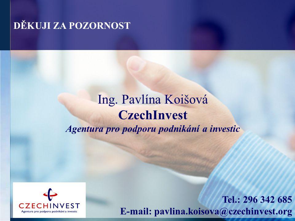 Ing. Pavlína Koišová CzechInvest Agentura pro podporu podnikání a investic Tel.: 296 342 685 E-mail: pavlina.koisova@czechinvest.org DĚKUJI ZA POZORNO