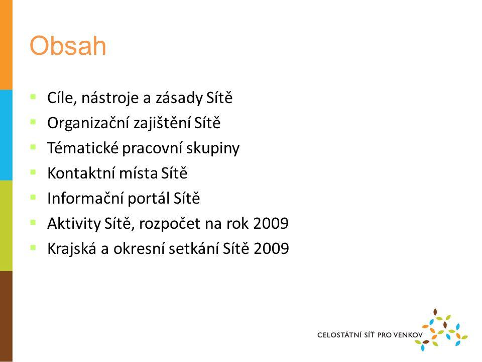 Obsah  Cíle, nástroje a zásady Sítě  Organizační zajištění Sítě  Tématické pracovní skupiny  Kontaktní místa Sítě  Informační portál Sítě  Aktivity Sítě, rozpočet na rok 2009  Krajská a okresní setkání Sítě 2009