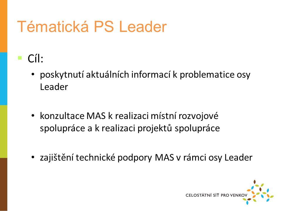 Tématická PS Leader  Cíl: poskytnutí aktuálních informací k problematice osy Leader konzultace MAS k realizaci místní rozvojové spolupráce a k realizaci projektů spolupráce zajištění technické podpory MAS v rámci osy Leader