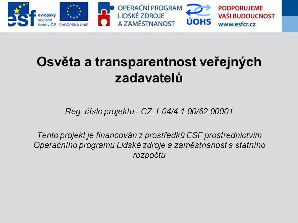 Osvěta a transparentnost veřejných zadavatelů Reg.