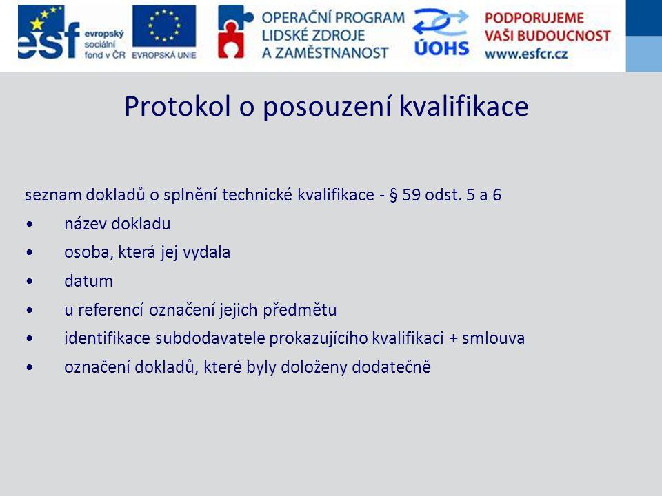 seznam dokladů o splnění technické kvalifikace - § 59 odst.