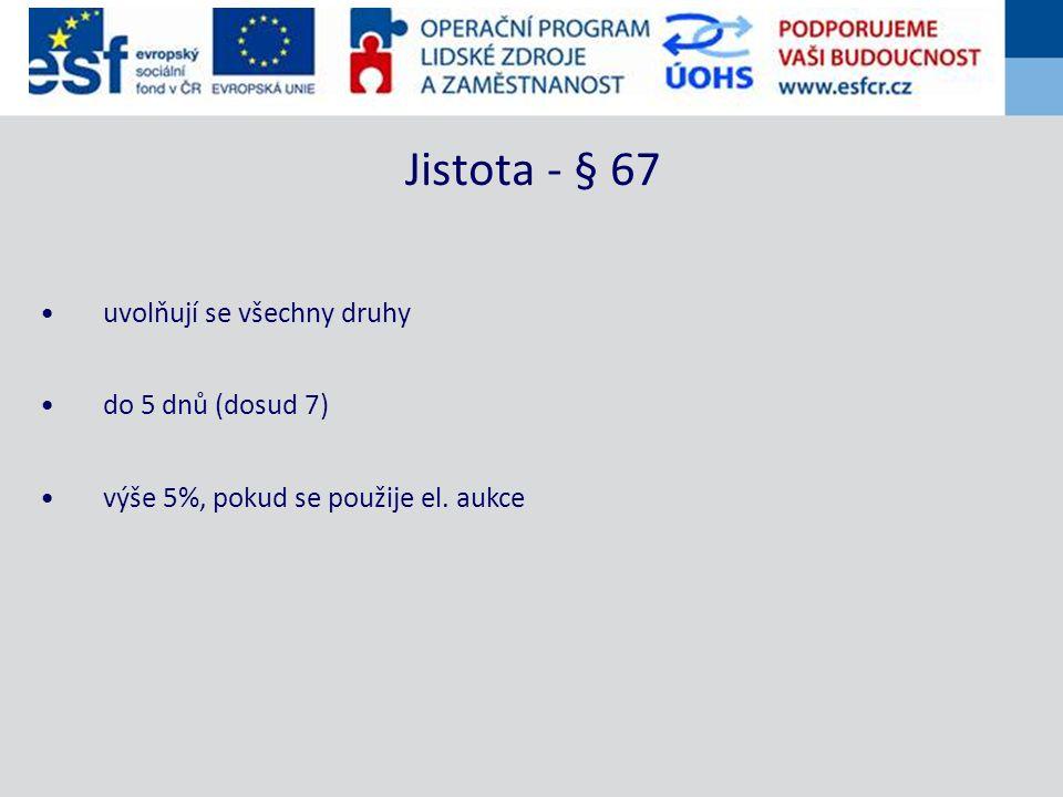 uvolňují se všechny druhy do 5 dnů (dosud 7) výše 5%, pokud se použije el. aukce Jistota - § 67