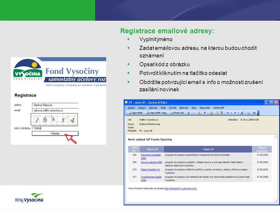 Registrace emailové adresy:  Vyplnit jméno  Zadat emailovou adresu, na kterou budou chodit oznámení  Opsat kód z obrázku  Potvrdit kliknutím na tl