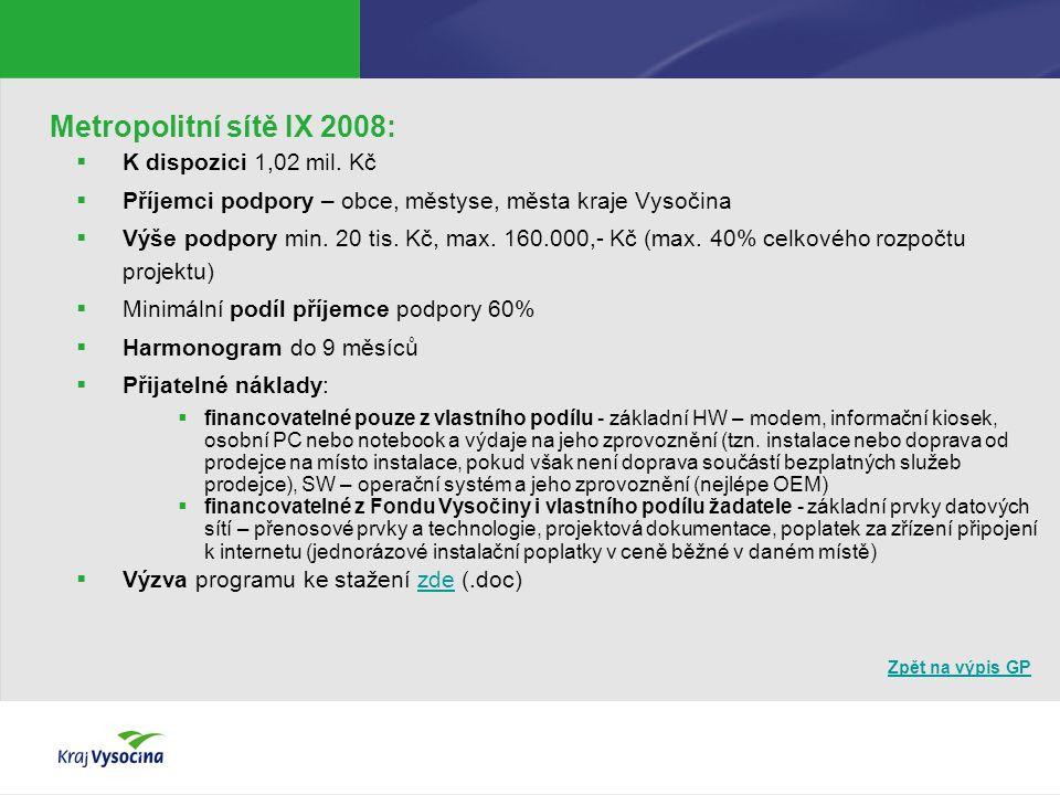 Zpět na výpis GP Podpora dostupnosti služeb veřejné správy 2008:  K dispozici 0,8 mil.