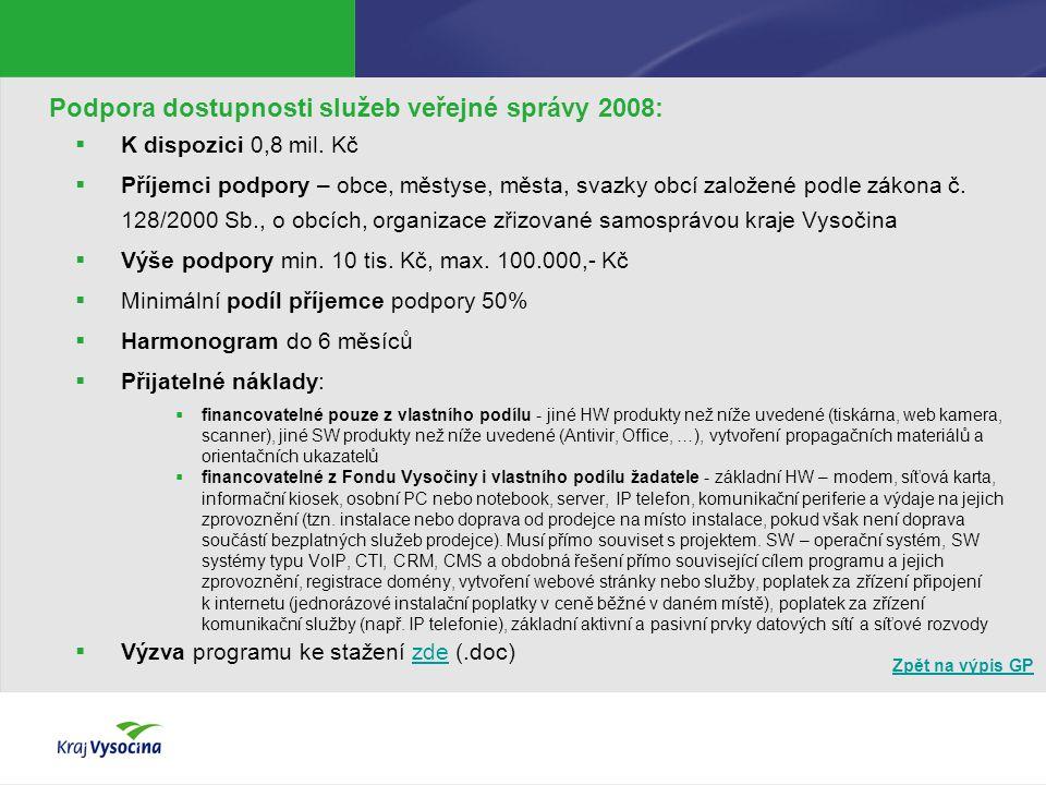 Zpět na výpis GP Podpora dostupnosti služeb veřejné správy 2008:  K dispozici 0,8 mil. Kč  Příjemci podpory – obce, městyse, města, svazky obcí zalo