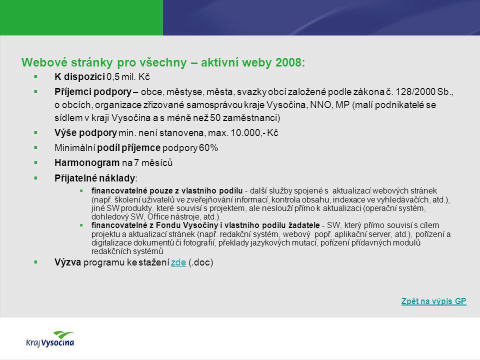 Zpět na výpis GP Webové stránky pro všechny – aktivní weby 2008:  K dispozici 0,5 mil. Kč  Příjemci podpory – obce, městyse, města, svazky obcí zalo