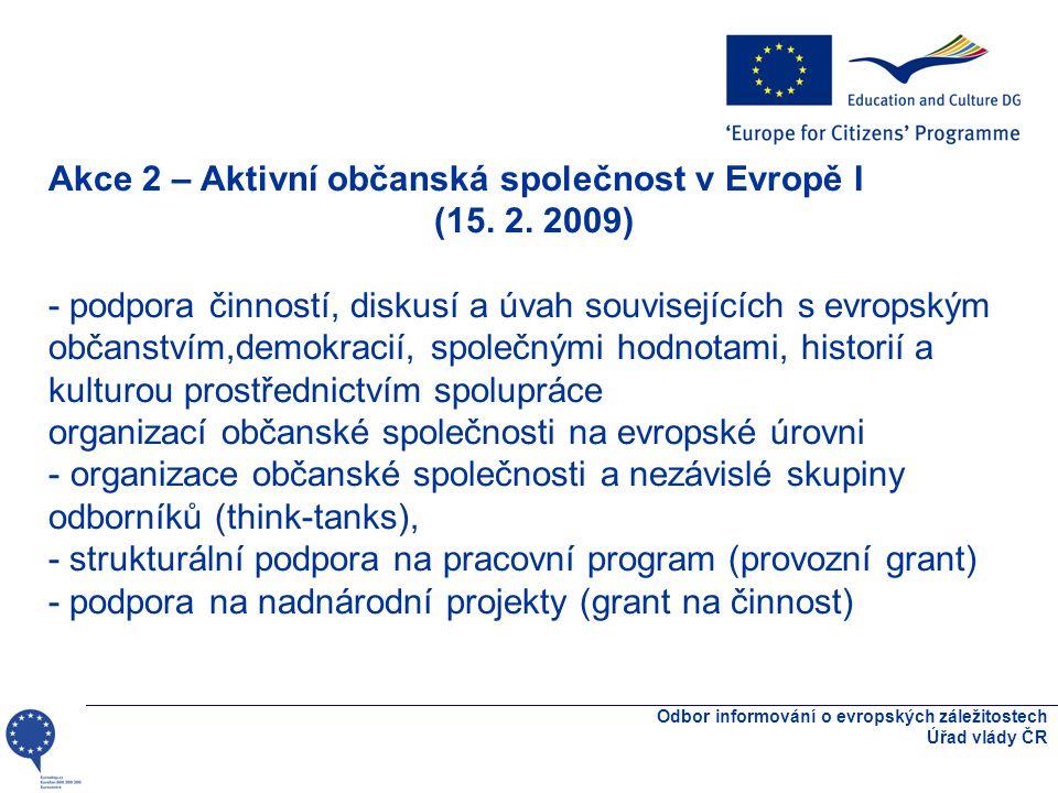 Odbor informování o evropských záležitostech Úřad vlády ČR Akce 2 – Aktivní občanská společnost v Evropě I (15.