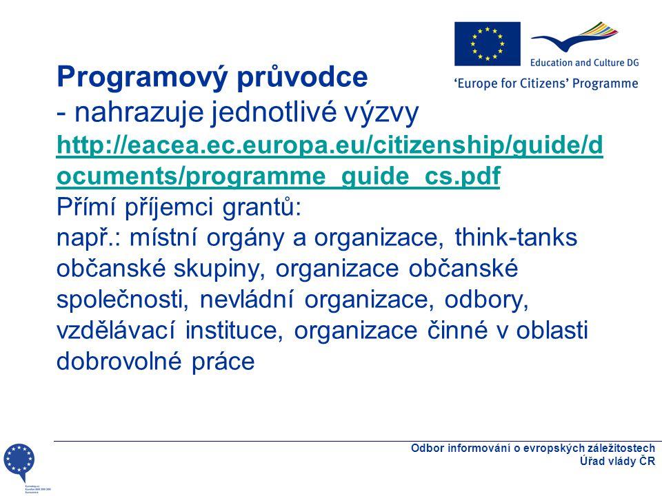 Programový průvodce - nahrazuje jednotlivé výzvy http://eacea.ec.europa.eu/citizenship/guide/d ocuments/programme_guide_cs.pdf Přímí příjemci grantů: např.: místní orgány a organizace, think-tanks občanské skupiny, organizace občanské společnosti, nevládní organizace, odbory, vzdělávací instituce, organizace činné v oblasti dobrovolné práce atp.