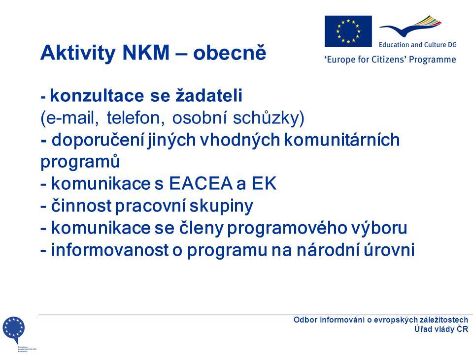 Aktivity NKM – obecně - konzultace se žadateli (e-mail, telefon, osobní schůzky) - doporučení jiných vhodných komunitárních programů - komunikace s EACEA a EK - činnost pracovní skupiny - komunikace se členy programového výboru - informovanost o programu na národní úrovni Odbor informování o evropských záležitostech Úřad vlády ČR