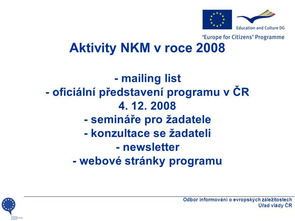 Aktivity NKM v roce 2008 - mailing list - oficiální představení programu v ČR 4.
