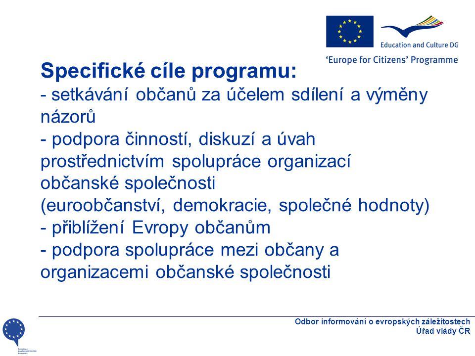 Specifické cíle programu: - setkávání občanů za účelem sdílení a výměny názorů - podpora činností, diskuzí a úvah prostřednictvím spolupráce organizací občanské společnosti (euroobčanství, demokracie, společné hodnoty) - přiblížení Evropy občanům - podpora spolupráce mezi občany a organizacemi občanské společnosti Odbor informování o evropských záležitostech Úřad vlády ČR