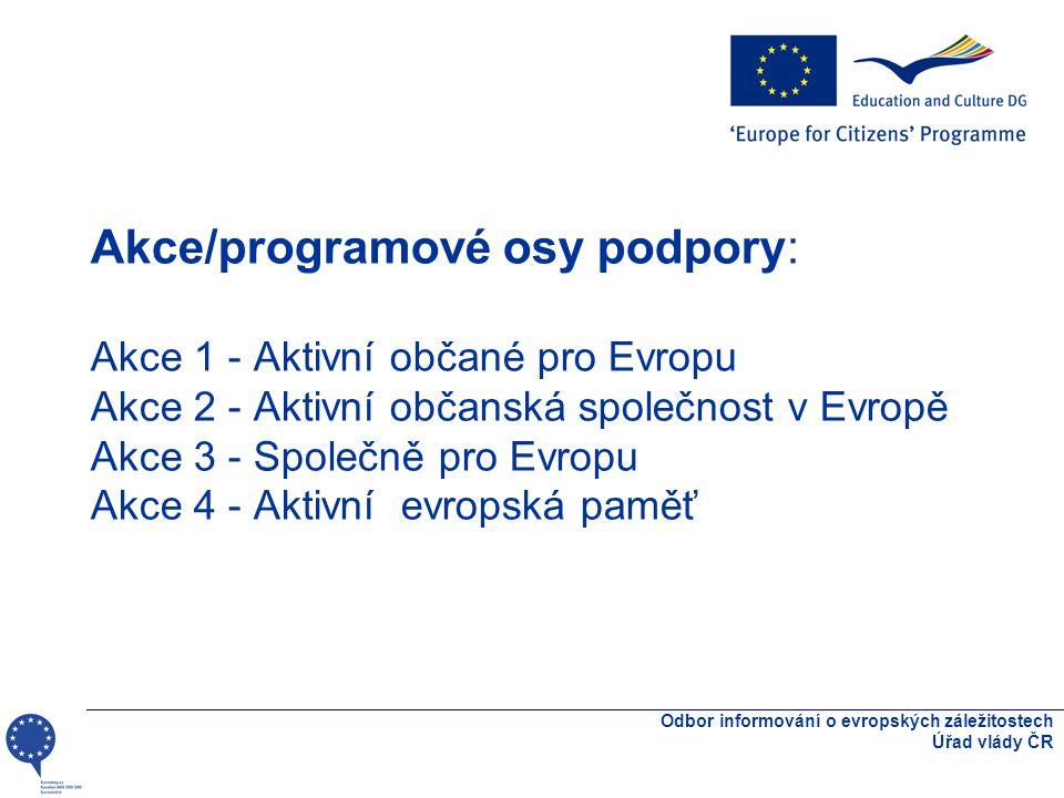Akce/programové osy podpory: Akce 1 - Aktivní občané pro Evropu Akce 2 - Aktivní občanská společnost v Evropě Akce 3 - Společně pro Evropu Akce 4 - Aktivní evropská paměť Odbor informování o evropských záležitostech Úřad vlády ČR