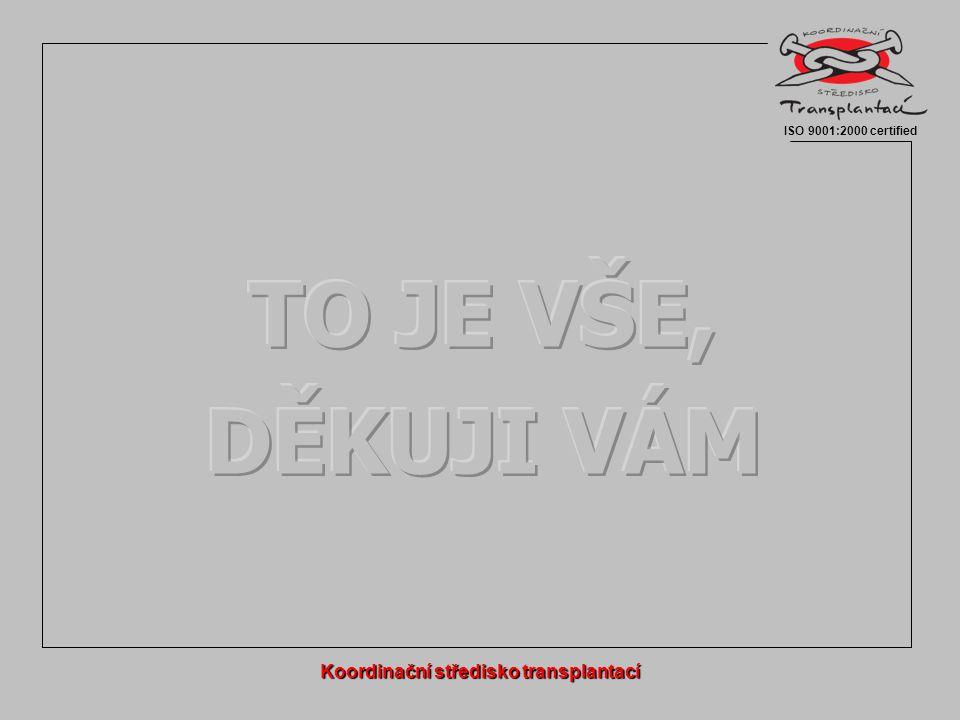 Koordinační středisko transplantací ISO 9001:2000 certified