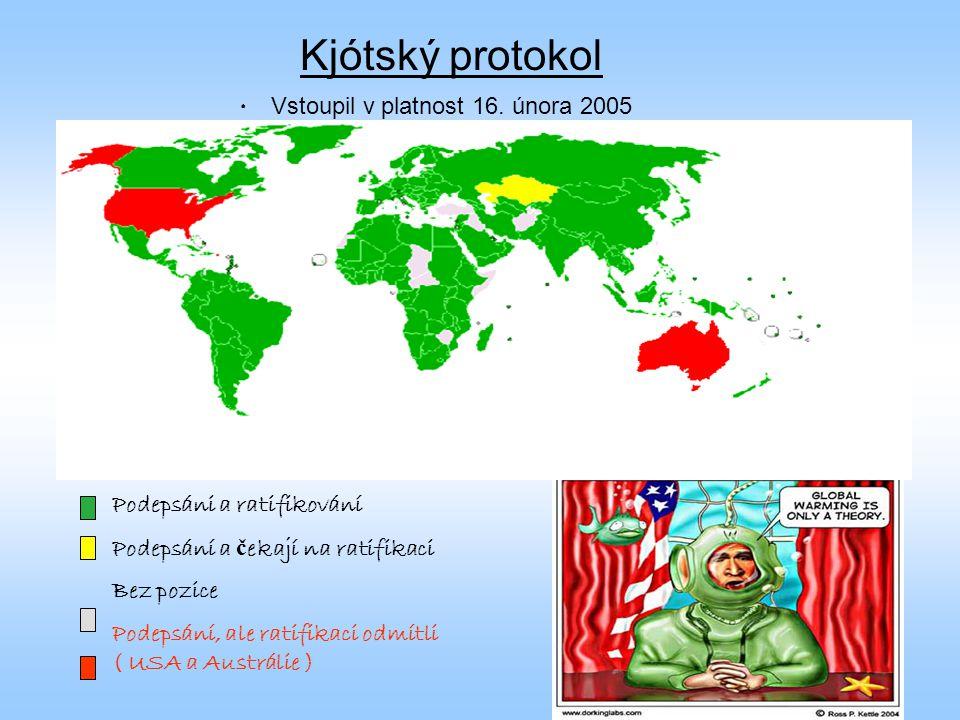 Kjótský protokol Vstoupil v platnost 16. února 2005 Podepsáni a ratifikování Podepsání a č ekají na ratifikaci Bez pozice Podepsání, ale ratifikaci od