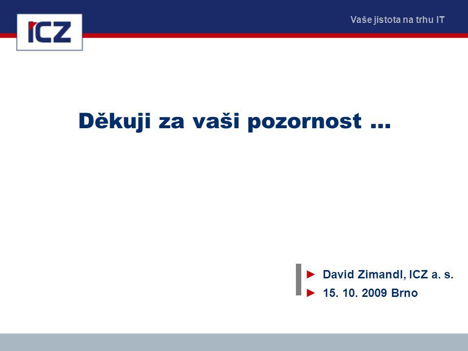 Vaše jistota na trhu IT Děkuji za vaši pozornost … ►David Zimandl, ICZ a. s. ►15. 10. 2009 Brno