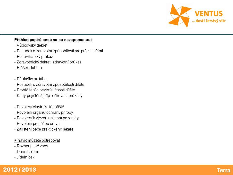 2012 / 2013 Přehled papírů aneb na co nezapomenout - Vůdcovský dekret - Posudek o zdravotní způsobilosti pro práci s dětmi - Potravinářský průkaz - Zdravotnický dekret, zdravotní průkaz - Hlášení tábora - Přihlášky na tábor - Posudek o zdravotní způsobilosti dítěte - Prohlášení o bezinfekčnosti dítěte - Karty pojištění, příp.