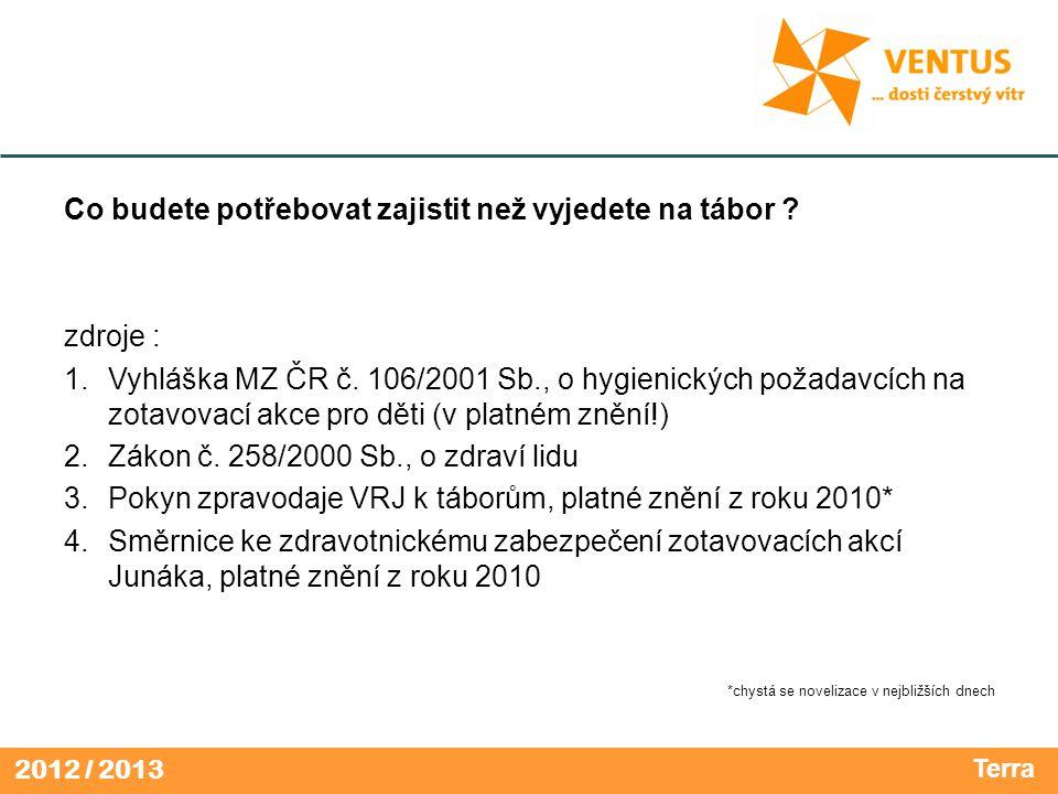 2012 / 2013 Co budete potřebovat zajistit než vyjedete na tábor ? zdroje : 1.Vyhláška MZ ČR č. 106/2001 Sb., o hygienických požadavcích na zotavovací