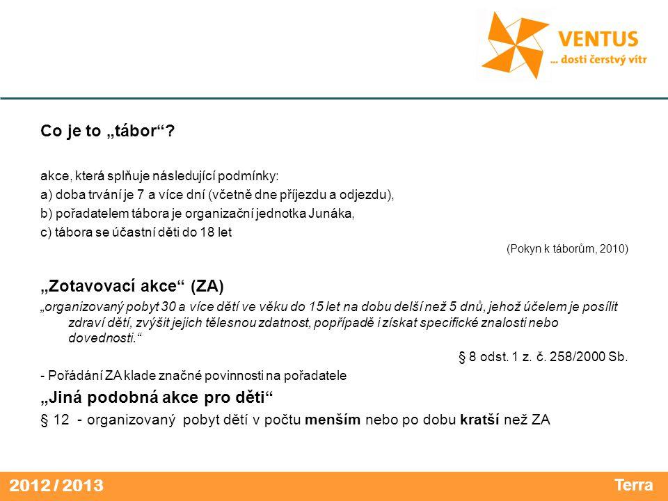 2012 / 2013 Jak si sehnat místo na táboření.- Středisko/okres je vlastníkem pozemku.