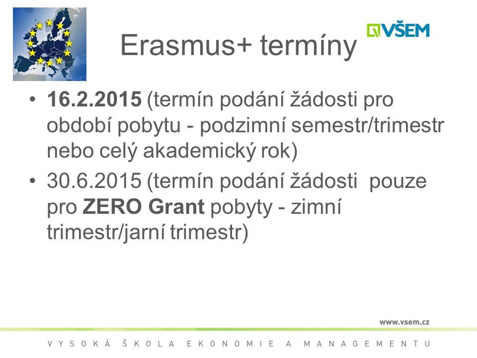 Erasmus+ výběrové řízení 1.kolo – zaslání žádosti 2.