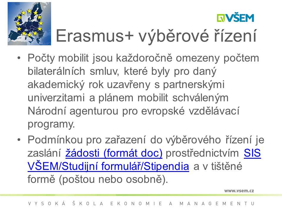 Erasmus+ výběrové řízení Počty mobilit jsou každoročně omezeny počtem bilaterálních smluv, které byly pro daný akademický rok uzavřeny s partnerskými