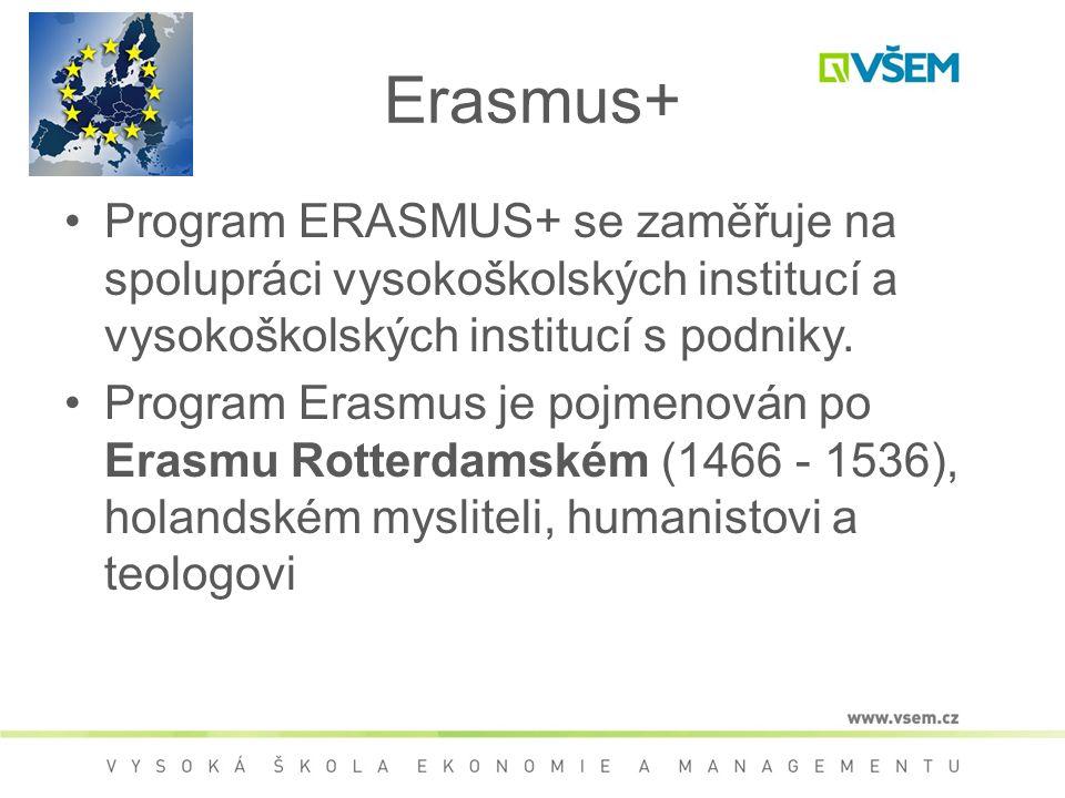 Erasmus+ Program ERASMUS+ se zaměřuje na spolupráci vysokoškolských institucí a vysokoškolských institucí s podniky. Program Erasmus je pojmenován po