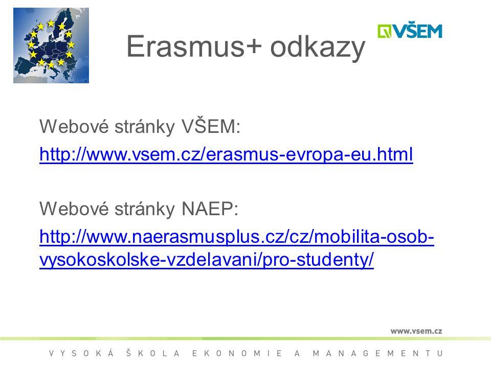 Erasmus+ odkazy Webové stránky VŠEM: http://www.vsem.cz/erasmus-evropa-eu.html Webové stránky NAEP: http://www.naerasmusplus.cz/cz/mobilita-osob- vyso