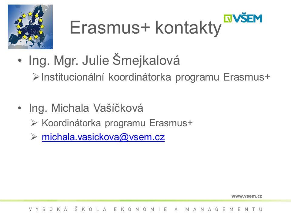 Erasmus+ kontakty Ing. Mgr. Julie Šmejkalová  Institucionální koordinátorka programu Erasmus+ Ing. Michala Vašíčková  Koordinátorka programu Erasmus