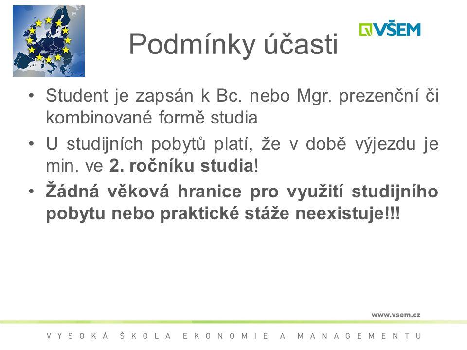 Podmínky účasti Student je zapsán k Bc. nebo Mgr. prezenční či kombinované formě studia U studijních pobytů platí, že v době výjezdu je min. ve 2. roč