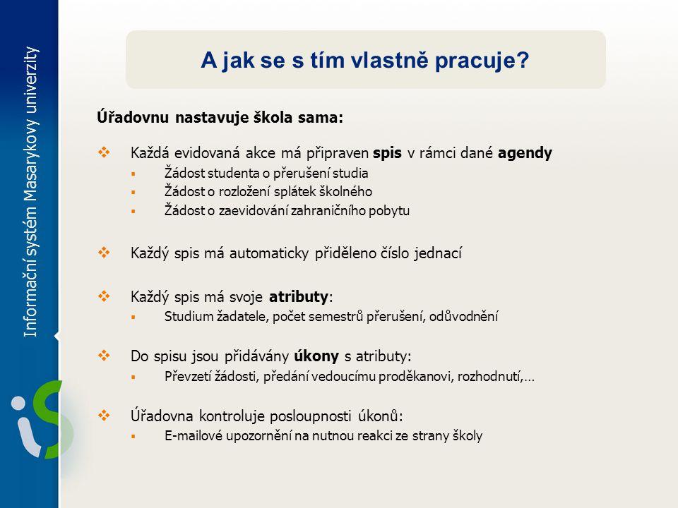 Informační systém Masarykovy univerzity A jak se s tím vlastně pracuje? Úřadovnu nastavuje škola sama:  Každá evidovaná akce má připraven spis v rámc