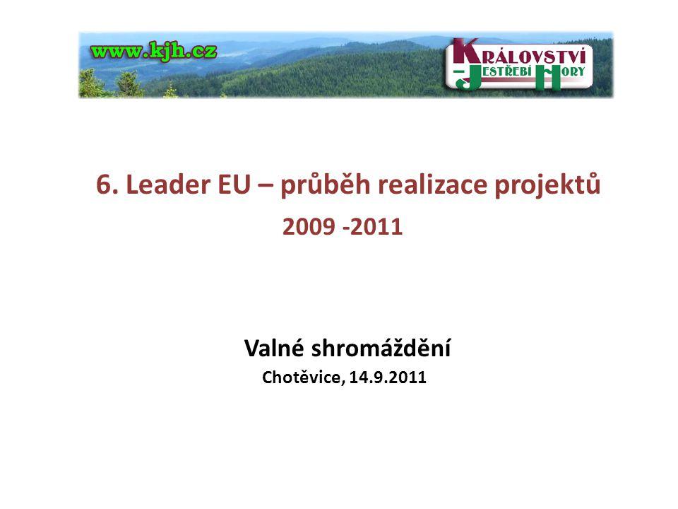 6. Leader EU – průběh realizace projektů 2009 -2011 Valné shromáždění Chotěvice, 14.9.2011