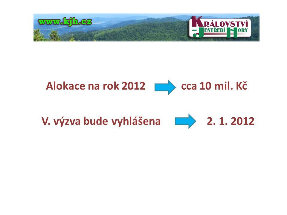 4 Alokace na rok 2012 cca 10 mil. Kč V. výzva bude vyhlášena 2. 1. 2012