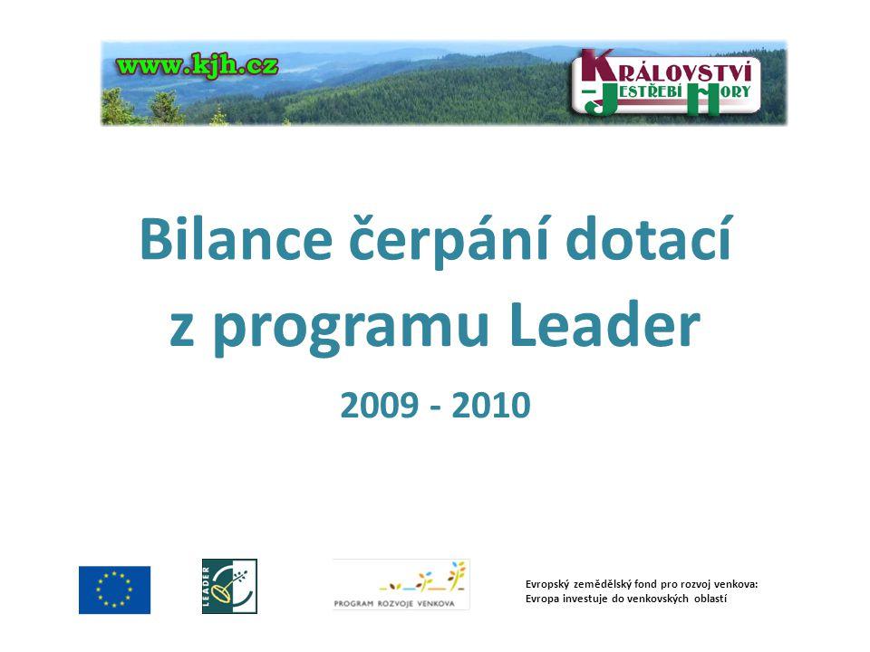 Bilance čerpání dotací z programu Leader 2009 - 2010 Evropský zemědělský fond pro rozvoj venkova: Evropa investuje do venkovských oblastí