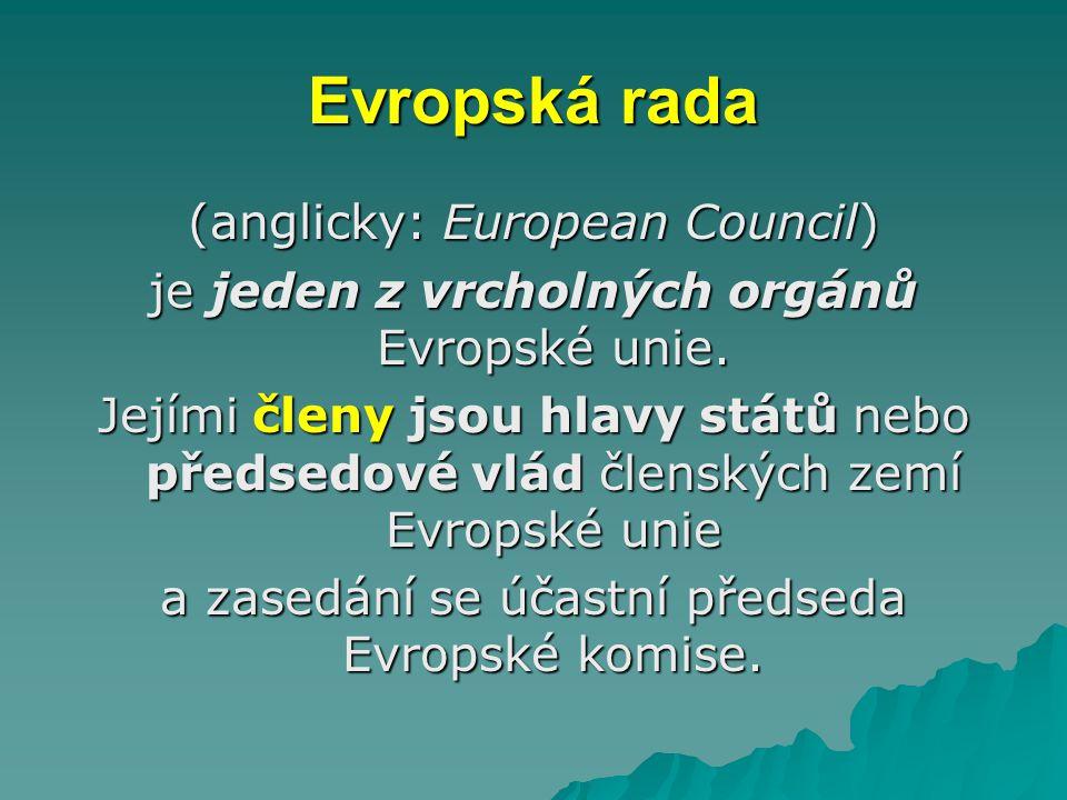 Evropská rada (anglicky: European Council) je jeden z vrcholných orgánů Evropské unie. Jejími členy jsou hlavy států nebo předsedové vlád členských ze