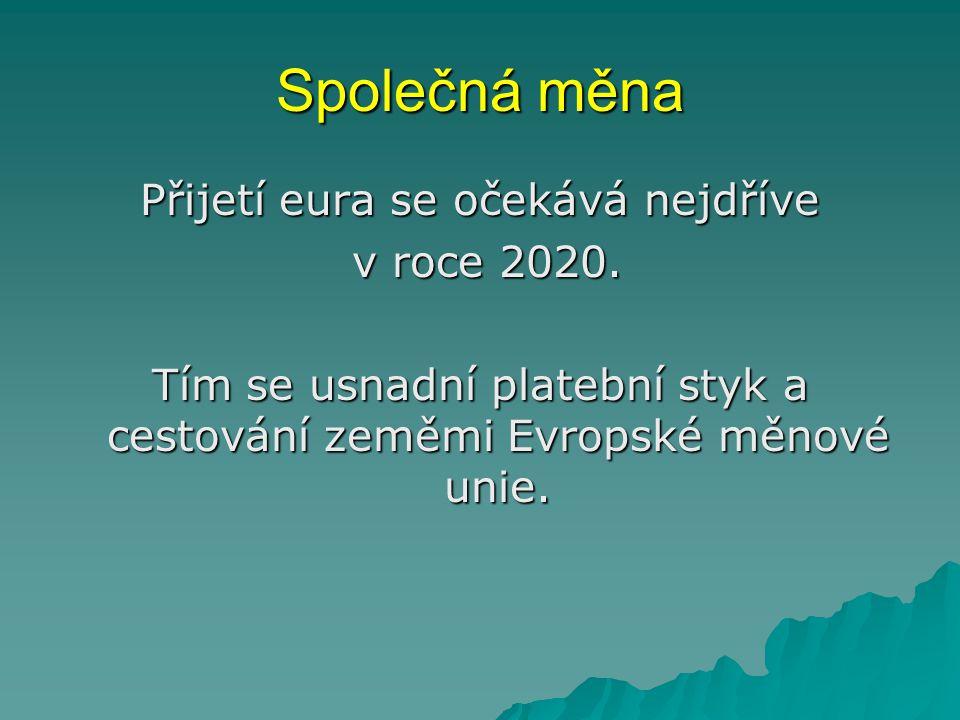Společná měna Přijetí eura se očekává nejdříve v roce 2020. v roce 2020. Tím se usnadní platební styk a cestování zeměmi Evropské měnové unie.