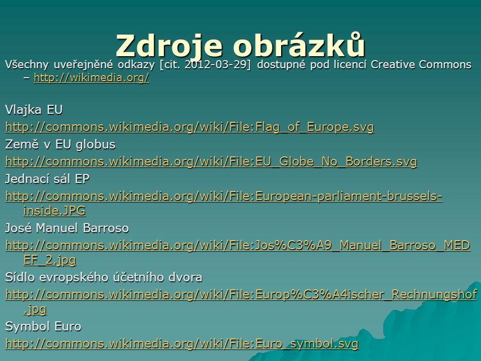 Zdroje obrázků Všechny uveřejněné odkazy [cit. 2012-03-29] dostupné pod licencí Creative Commons – http://wikimedia.org/ http://wikimedia.org/ Vlajka