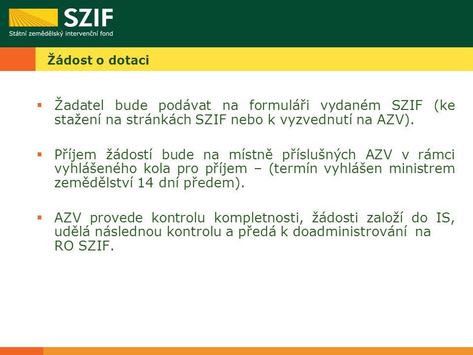 Žádost o dotaci  Žadatel bude podávat na formuláři vydaném SZIF (ke stažení na stránkách SZIF nebo k vyzvednutí na AZV).